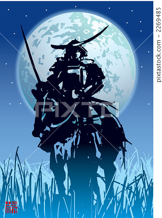 图库插图: 矢量 军事指挥官 日本武士
