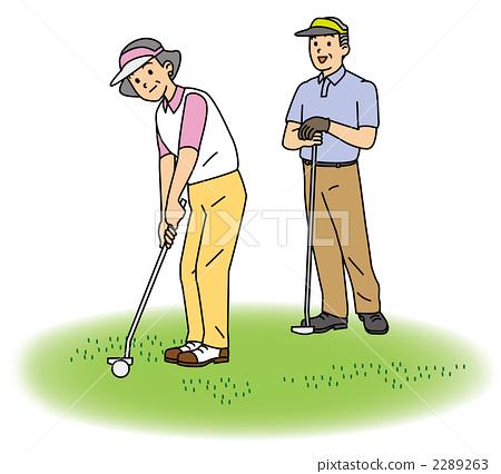 插图素材: 中老年人 轻拍 高尔夫