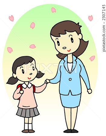 父母和小孩 进入学校或大学 小学一年级学生图片