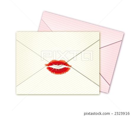 插图素材: 吻痕 情书 信封