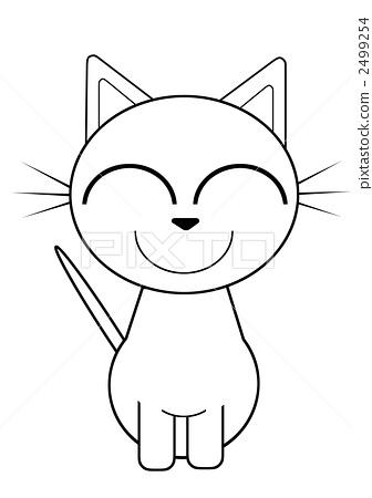 手绘白猫背影图片
