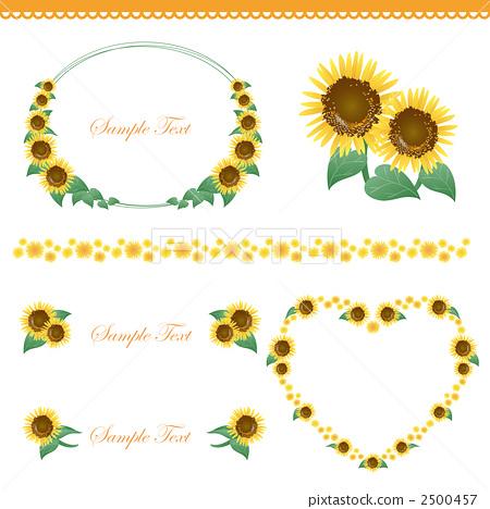 插图素材: 装饰边 向日葵 illustration