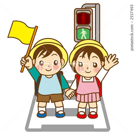儿童 孩子 上学途中