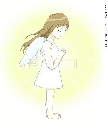 女孩 首页 插图 人物 女性 女孩 祈祷 天使 女孩  *pixta限定素材仅在