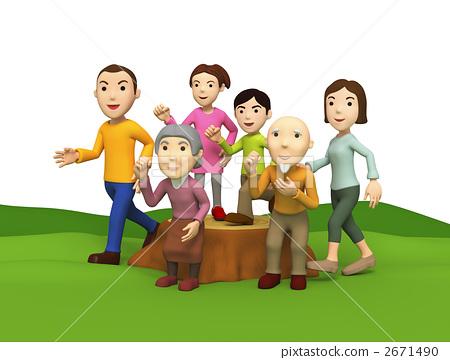 家庭 大家庭 野餐