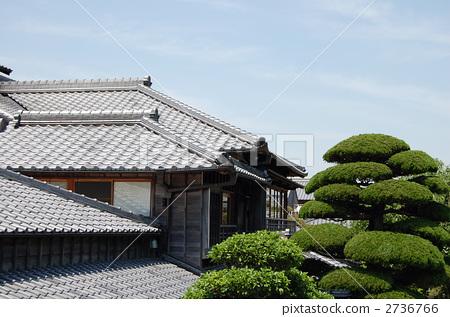 日式房屋 顶部 屋顶