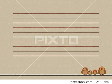 首页 插图 动物_鸟儿 鸟儿 小鸟 信纸 书写纸 猫头鹰  *pixta限定素材