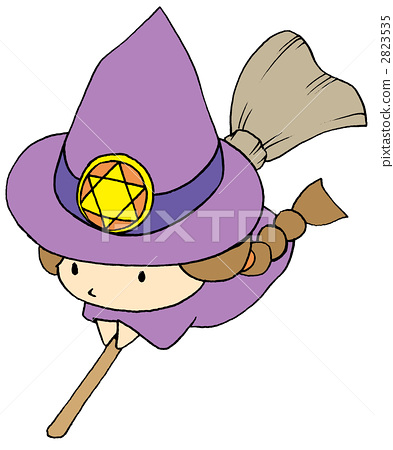 插图素材: 巫婆的孩子(飞行)