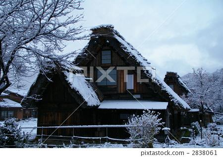 建筑 白川乡 人字形木屋顶