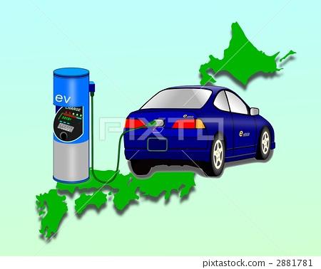 充电器 电动汽车 绘画的