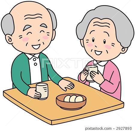 奶奶买菜矢量图