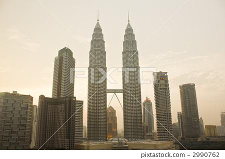 西安双子塔楼房模型图片
