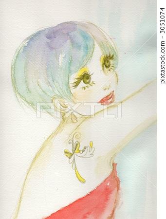 水彩 水彩画 纹身 少女