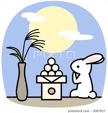中秋节之夜 月圆之夜 兔子