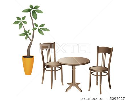插图 植物_花 观叶植物 咖啡桌 室内装饰 室内设计  *pixta限定素材仅