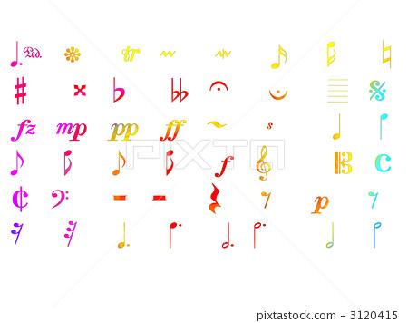 插图 文字_记号 音符 音乐标记 笔记 音符  *pixta限定素材仅在pixta