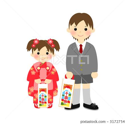 儿童 首页 插图 人物 男性 男孩 节日服装 和服 儿童  *pixta限定素材