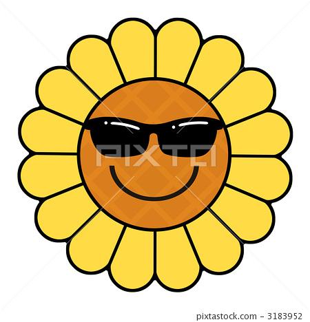 图库插图: 太阳镜 墨镜 向日葵