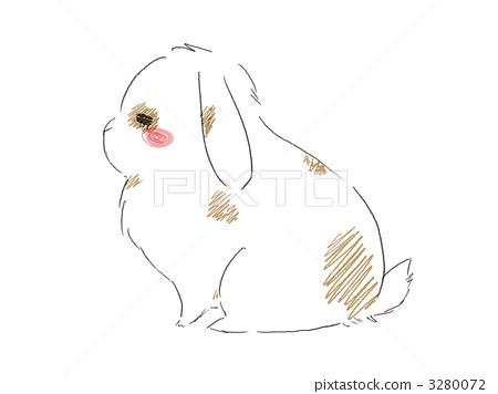 兔子挖洞手绘黑白