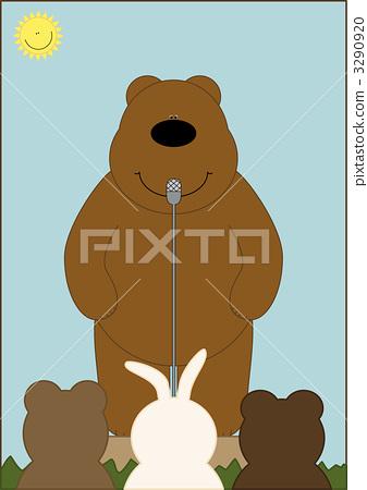 插图素材: 熊 陆生动物 麦克风