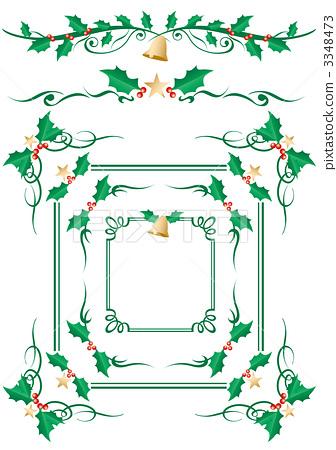 图库插图: 冬青 矢量图 装饰边