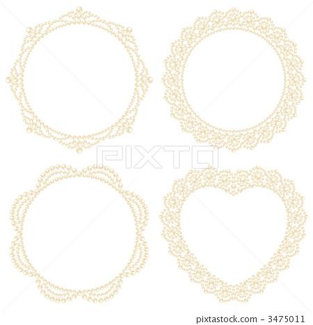插图素材: 珍珠 小桌布 矢量