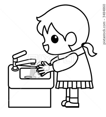 洗手简笔画可爱