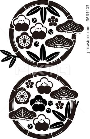 植物_花 梅花 梅花 插图 竹与梅 吉祥物 幸运符 首页 插图 植物_花