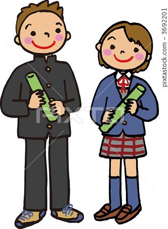 图库插图: 矢量图 初中生 中学生