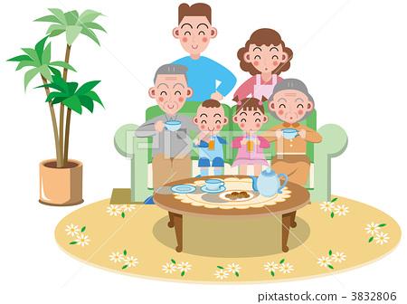三代人 家庭 插图