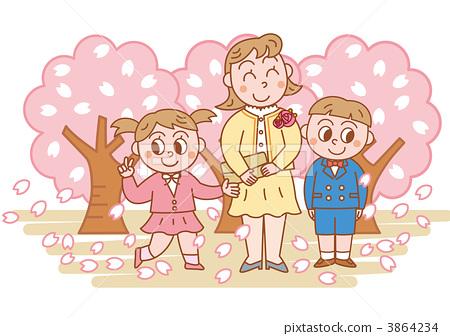 父母和小孩 进入学校或大学 樱桃树