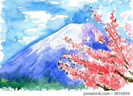 水彩画 樱桃树