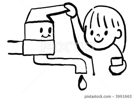 插图素材: 少女 供水 节约用水图片
