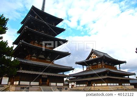 法隆寺の「五重塔(左)と金堂(右)」