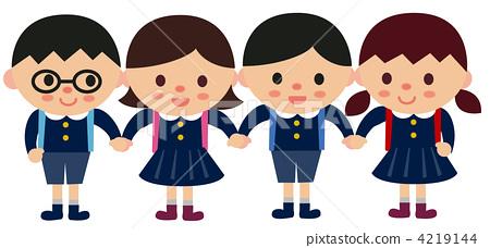 图库插图: 小学生 小学一年级学生 新生图片