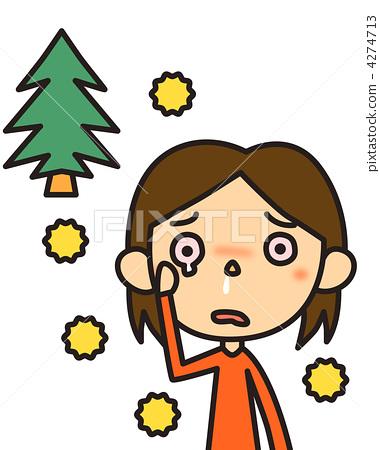 插图素材: 花粉过敏 杉木花粉 鼻涕