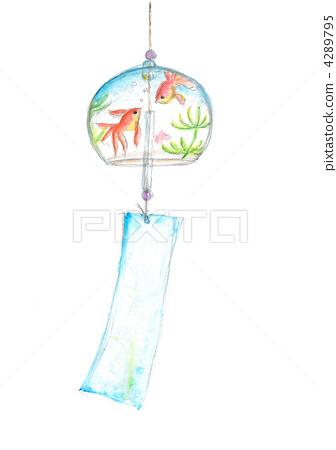 风铃 金鱼 水彩画