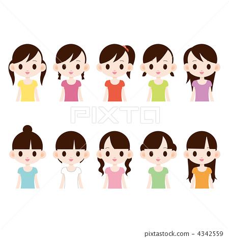 漂亮的发型 女孩 stock 插图 - pixta