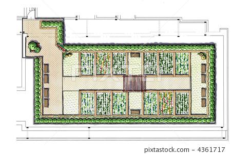 图库插图: 屋顶花园 手绘 凉棚