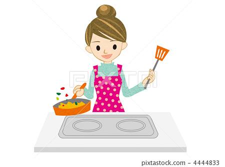 插图素材: 烹饪的家庭主妇