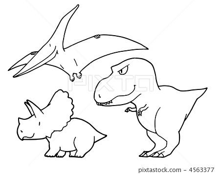 角龙三角龙恐龙简笔画