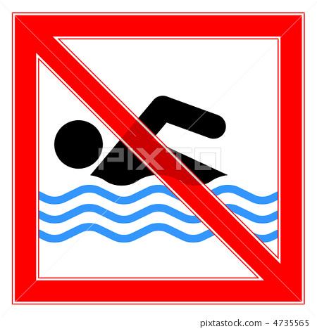 图库插图: 禁止游泳 广告牌 告示牌
