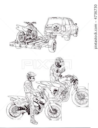 摩托车 自行车 黑白