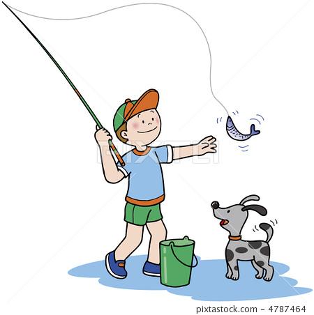 钓鱼 矢量图 儿童