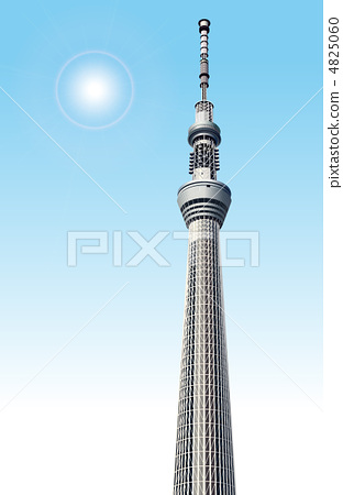 东京塔 晴空塔 stock 插图
