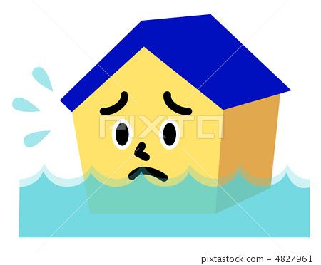 图库插图: 水渍 洪水 房屋