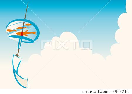 图库插图: 风铃 矢量 金鱼