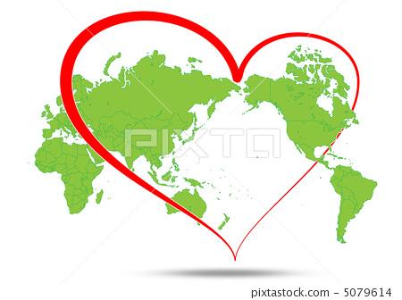 世界地图 心 绘画插图