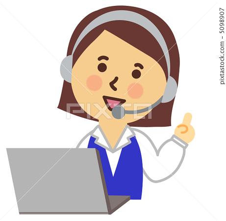 首页 插图 人物 女性 中年妇女 操作员 话务员 说话  *pixta限定素材
