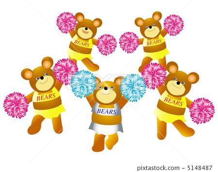 插图素材: 拉拉队队长 熊 迷人
